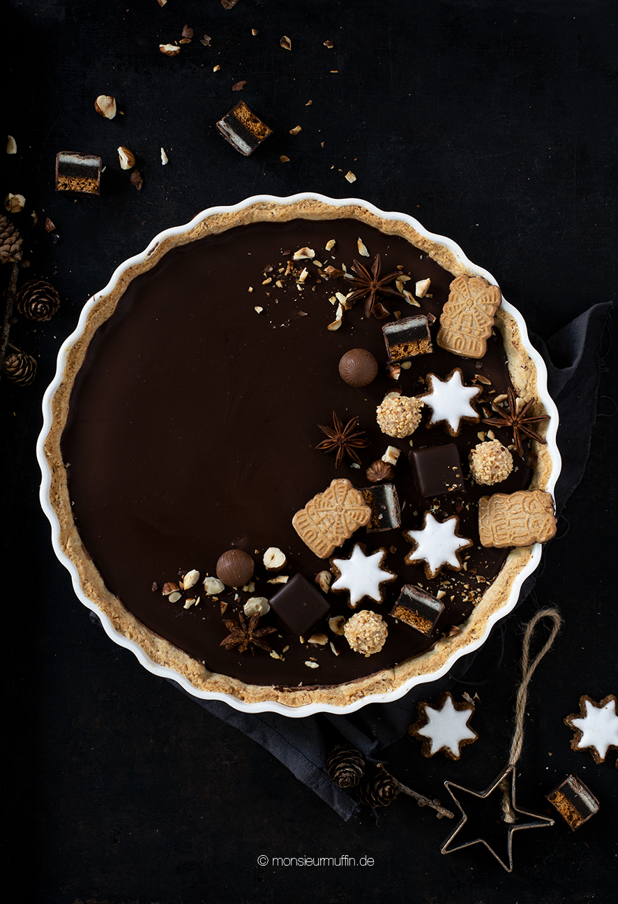 Lebkuchen-Tarte Rezept | chocolate tarte with gingerbread | Christmas tarte | Christmas cake | © monsieurmuffin